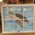 Turtle Painting on Vintage Windows at Club Indoor Golf