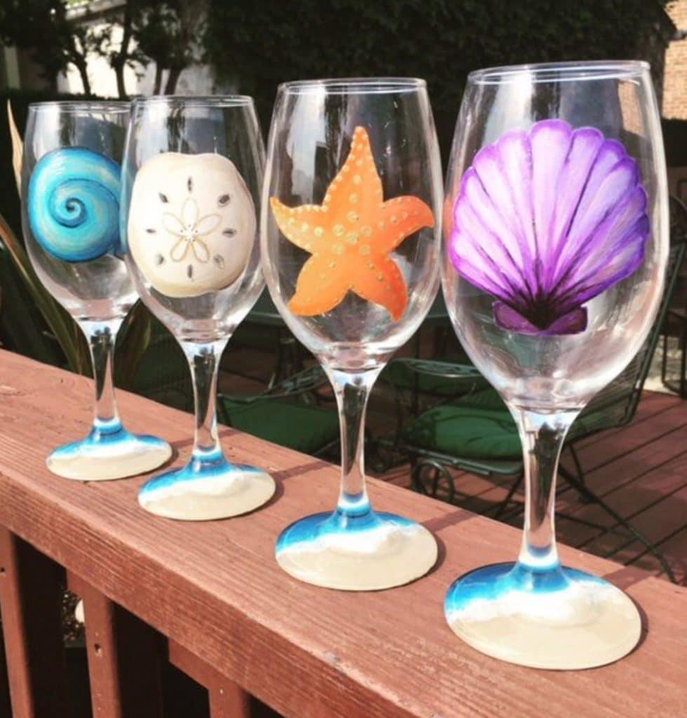 Wine Glass Painting At Good Hops Sip And Paint Carolina Beach