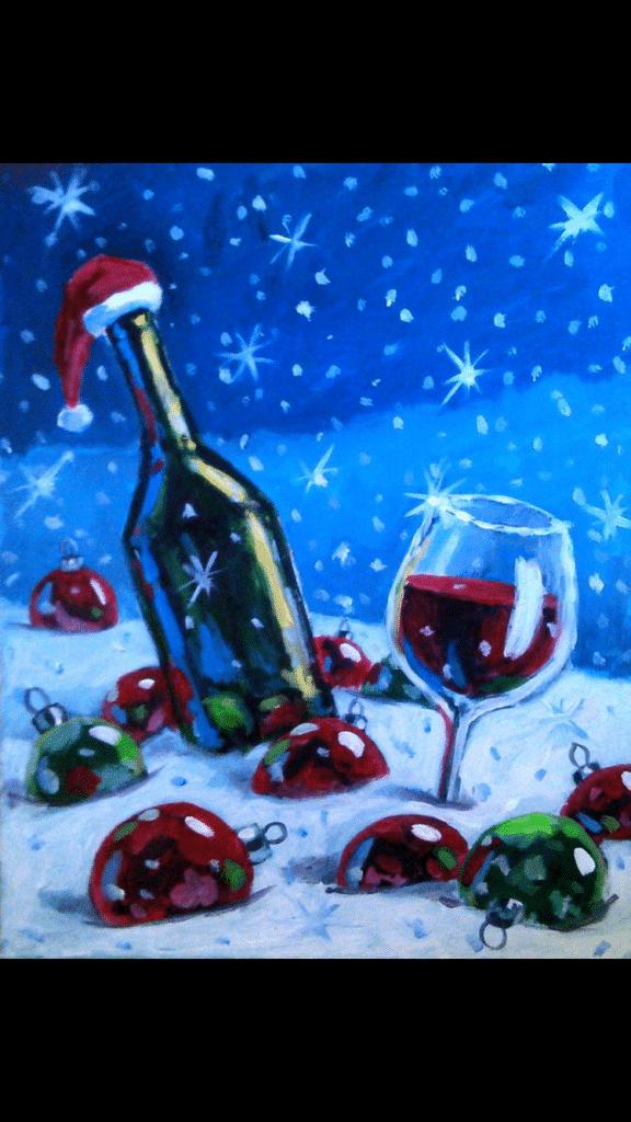 Christmas Wine.Christmas Wine Sip And Paint Carolina Beach