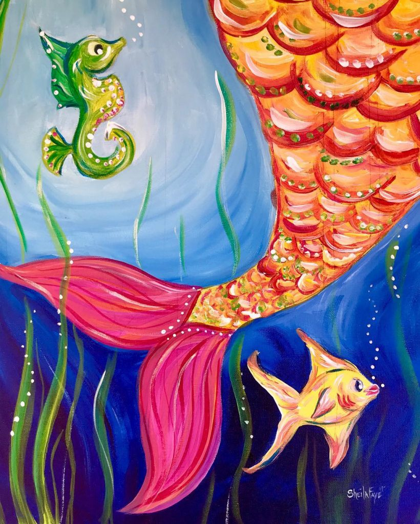 paint night with the mermaids at the fort fisher aquarium sip and
